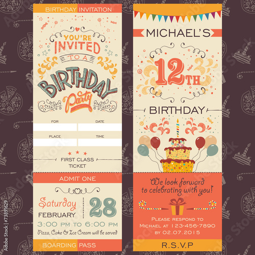 Birthday party invitation ticket - 73891629