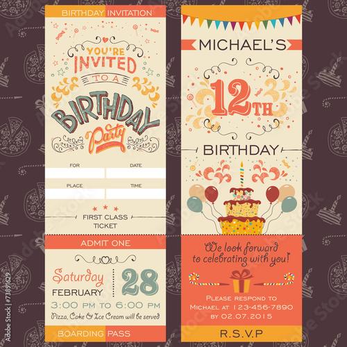 Zdjęcia na płótnie, fototapety, obrazy : Birthday party invitation ticket