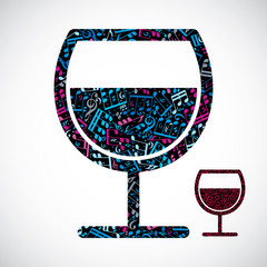 Decorative colorful vector half full wineglass filled with music