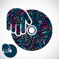 Decorative colorful vector disco plate symbol filled with musica