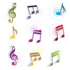 Bright expressive jolly glossy musical notes and symbols isolate