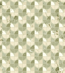 Vintage neutral geometric seamless pattern, stained glass abstra