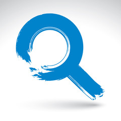 Hand-painted blue magnifying glass icon isolated on white backgr