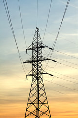 Power supply line metal tower on beautiful in twilights