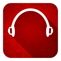 headphones flat icon, christmas button