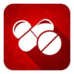 medicine flat icon, christmas button, drugs symbol, pills sign