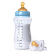 Leinwanddruck Bild - baby bottle and pacifier
