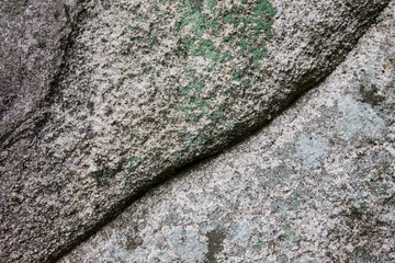 Natural stone covered with lichens with crack