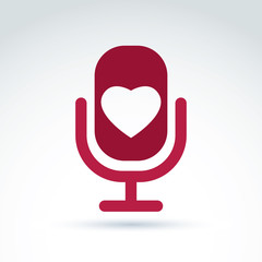 Vector illustration of red microphone with love symbol, broadcas