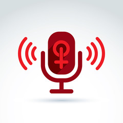 Microphone with a red female sign, woman gender symbol. Lesbian