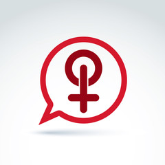 Speech bubble with a red female sign, woman gender symbol. Lesbi