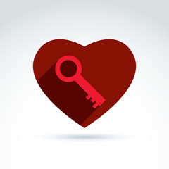 Vector red heart with a key isolated on white background. Love s