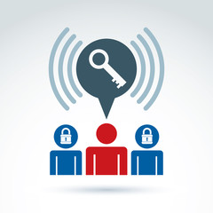 People key and padlock lock conceptual vector icon, unlock your