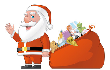 Santa and gifts bag