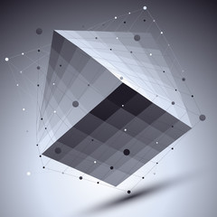 Abstract squared vector monochrome object with lines mesh over d