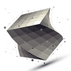 Abstract deformed vector squared object with lines mesh isolated