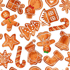 Seamless pattern of watercolor gingerbread cookies