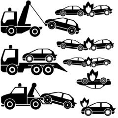 tow truck icons and car crash