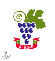 Stylized grape vine vector illustration. Winery symbol best for