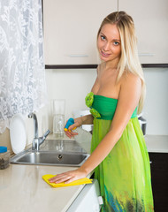 blonde girl cleaning  furniture