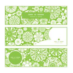 Vector abstract green and white circles horizontal banners set