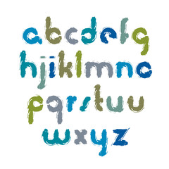 Vector bright cartoon font, handwritten watercolor lowercase let