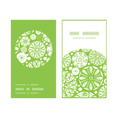 Vector abstract green and white circles vertical round frame