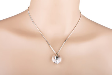 Silver necklace with glass heart pendant