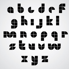 Digital style simple geometric font made with squares.