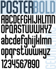 Poster black classic font and numbers, bold geometric letters.