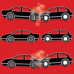 black color car crash icons