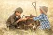 Leinwandbild Motiv Little treasure hunters
