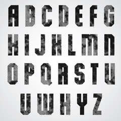 Black and white dotty graphic upper case letters, industrial fon