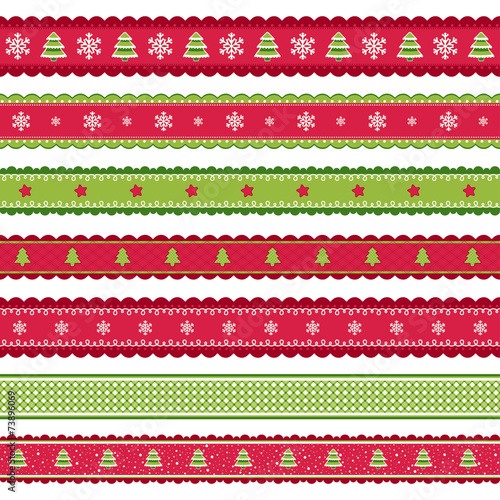 Red green Christmass ribbons set