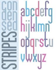 Poster retro condensed bright font, striped compact lowercase le