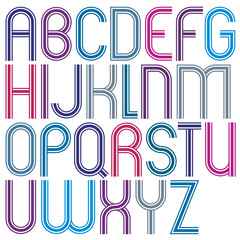 Rounded big jolly parallel cartoon uppercase letters, triple lin