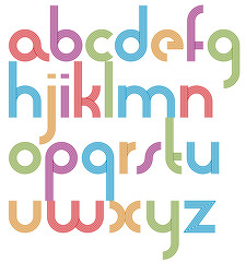 Rounded light jolly parallel cartoon lowercase letters, striped