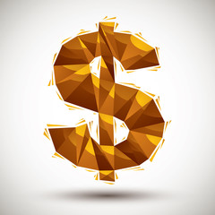 Golden dollar sign geometric icon made in 3d modern style, best