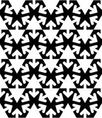 Black and white abstract textured geometric seamless pattern. Ve
