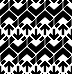 Seamless pattern with arrows, black and white infinite geometric