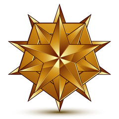 Sophisticated vector golden star emblem, 3d decorative design el