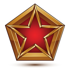 Glamorous vector template with pentagonal red star with golden o