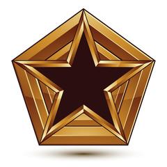 Branded golden geometric symbol, stylized star with black fillin