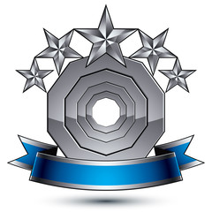 Glamorous vector template with pentagonal silver stars symbol, b
