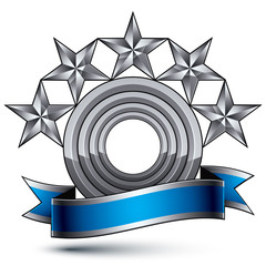 Sophisticated vector emblem with 5 silver glossy stars and blue
