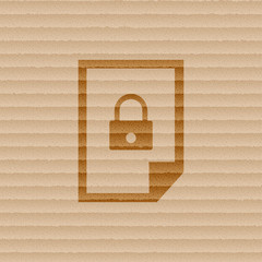 file locked icon symbol Flat modern web design with long shadow