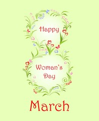 Greeting for Woman's Day with spring flowers