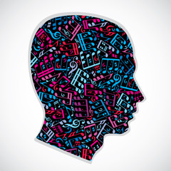 Bright expressive silhouette of a head filled with musical notes
