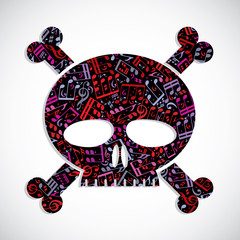 Decorative colorful vector skull filled with musical notes, keep