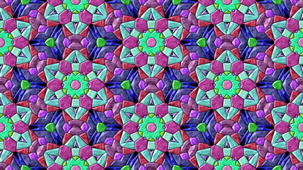 Glass mosaic kaleidoscopic generated seamless loop video